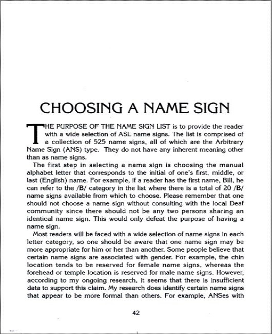 The Book of Name Signs: Naming in American Sign Language