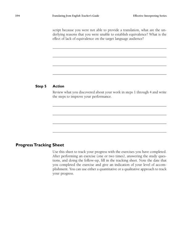 The Effective Interpreting Series: Translating from English - Teacher's Set